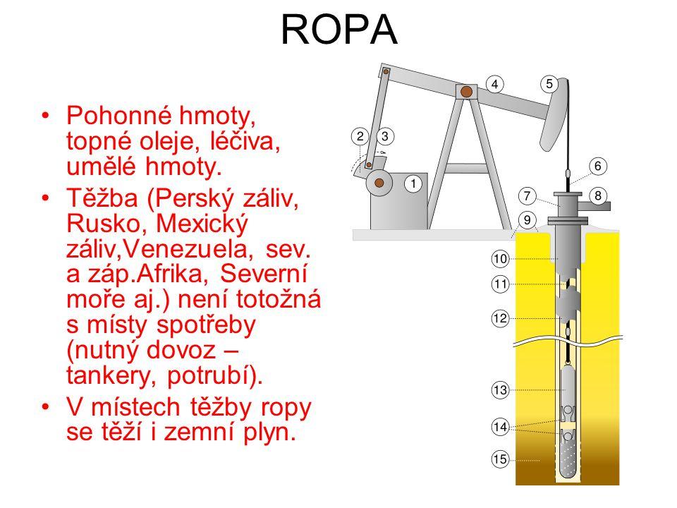 ROPA Pohonné hmoty, topné oleje, léčiva, umělé hmoty.