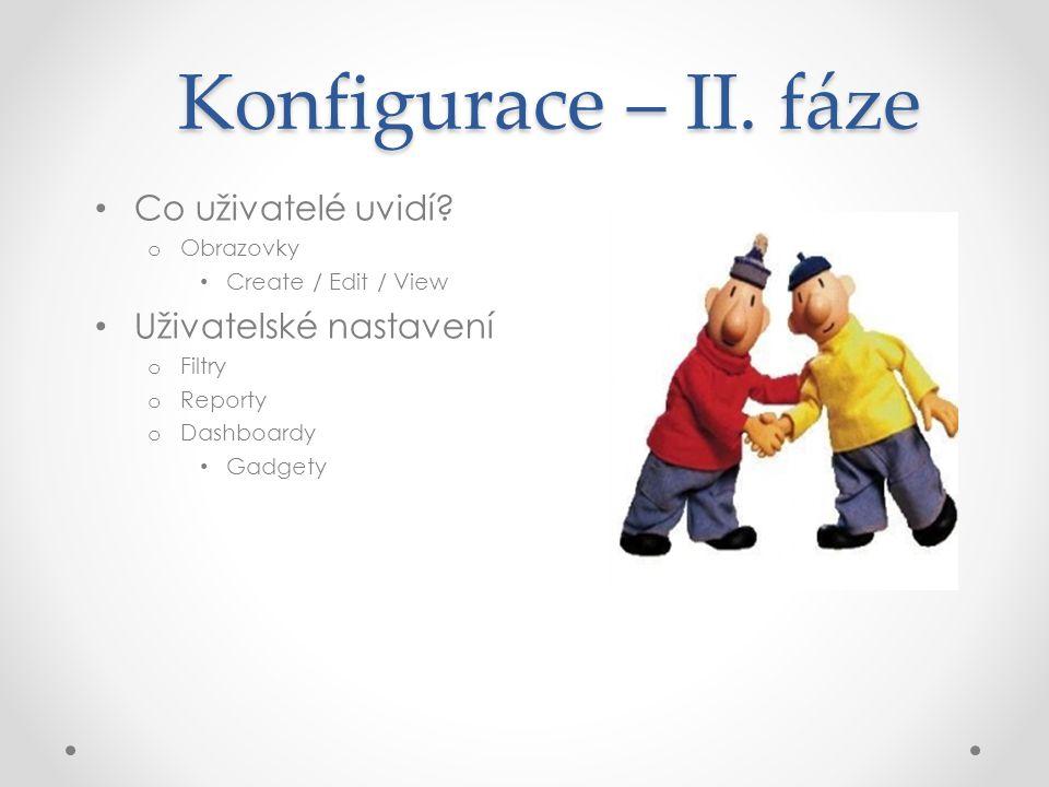 Konfigurace – II. fáze Co uživatelé uvidí Uživatelské nastavení