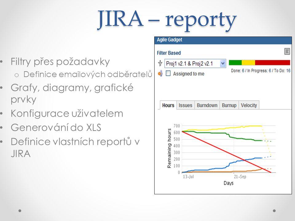JIRA – reporty Filtry přes požadavky Grafy, diagramy, grafické prvky