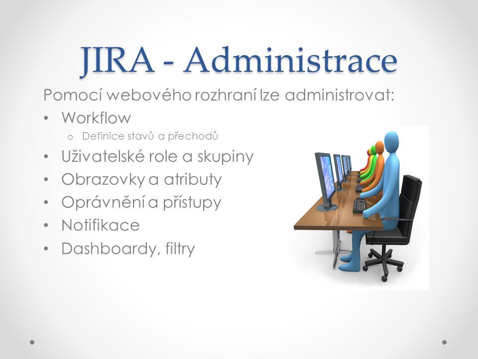 JIRA - Administrace Pomocí webového rozhraní lze administrovat: