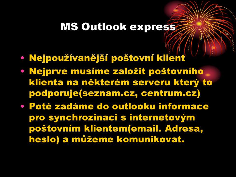 MS Outlook express Nejpoužívanější poštovní klient