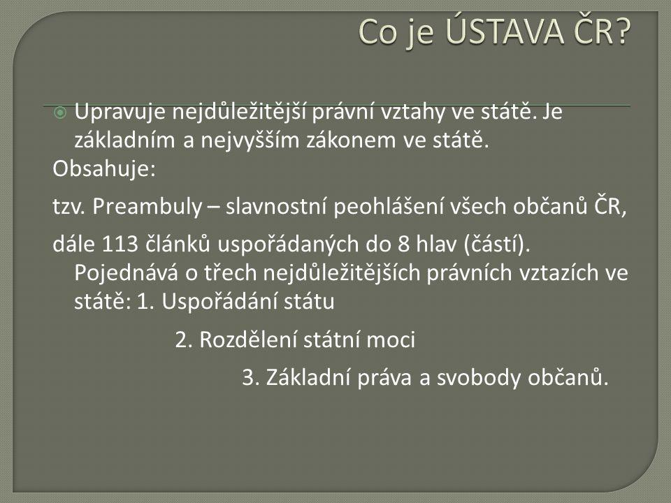 Co je ÚSTAVA ČR Upravuje nejdůležitější právní vztahy ve státě. Je základním a nejvyšším zákonem ve státě.