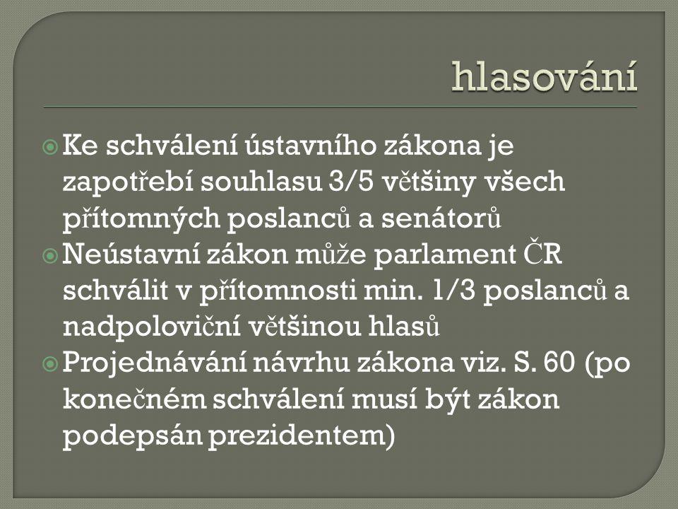 hlasování Ke schválení ústavního zákona je zapotřebí souhlasu 3/5 většiny všech přítomných poslanců a senátorů.