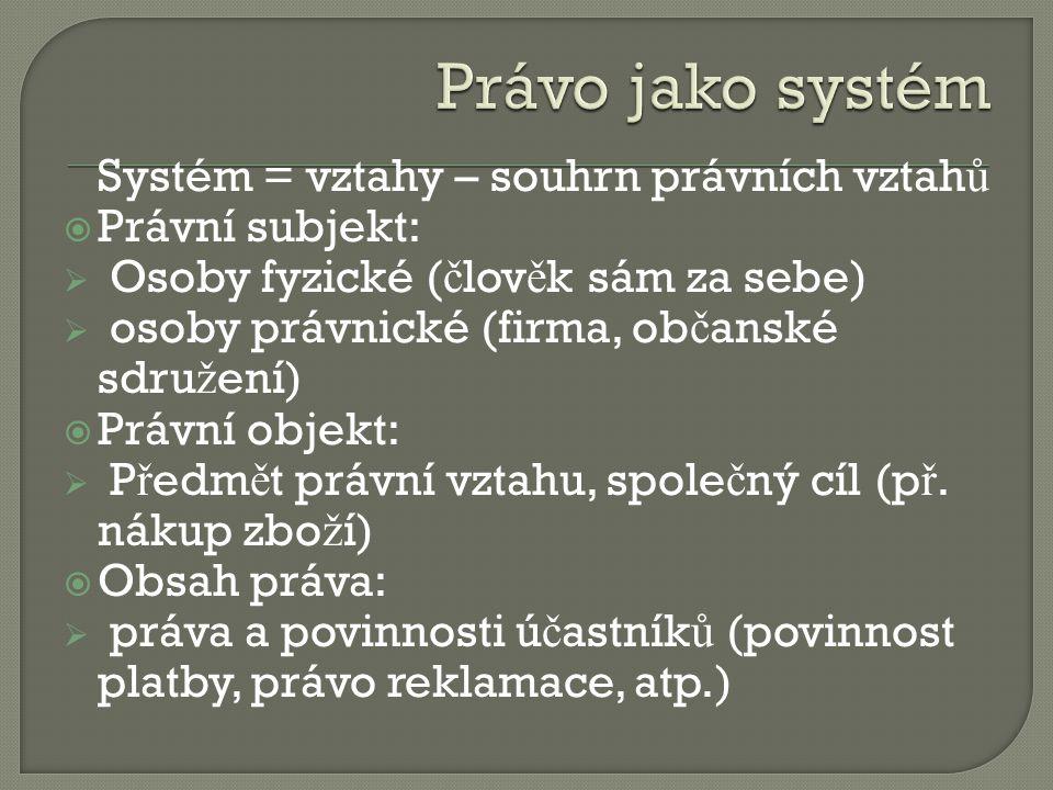 Právo jako systém Systém = vztahy – souhrn právních vztahů
