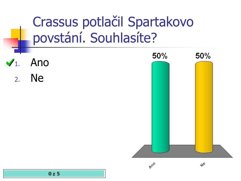 Crassus potlačil Spartakovo povstání. Souhlasíte