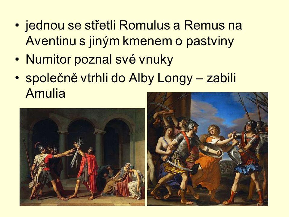 jednou se střetli Romulus a Remus na Aventinu s jiným kmenem o pastviny
