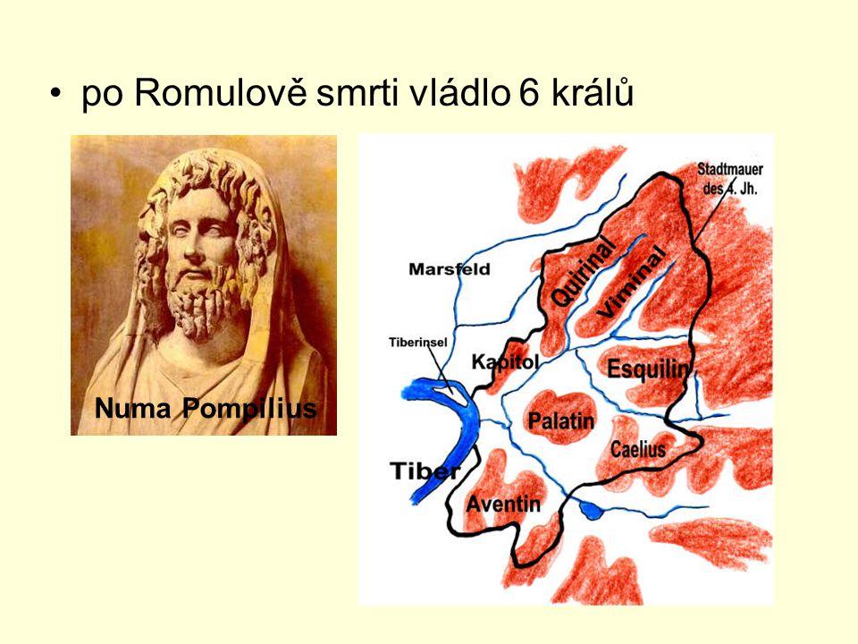 po Romulově smrti vládlo 6 králů