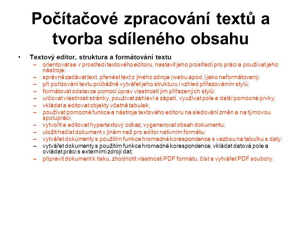 Počítačové zpracování textů a tvorba sdíleného obsahu