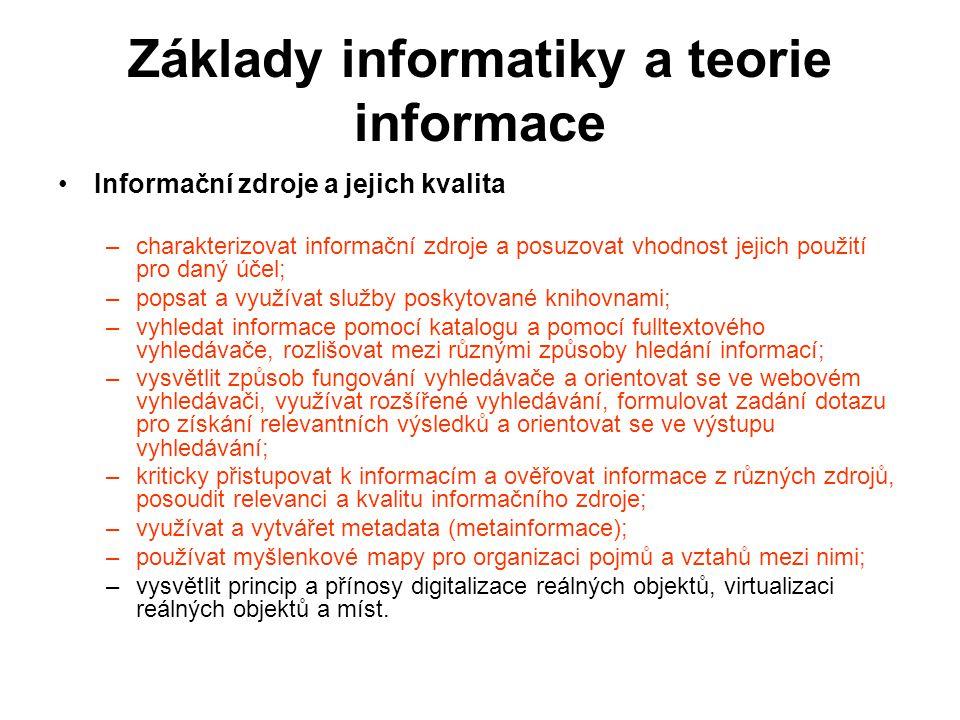 Základy informatiky a teorie informace