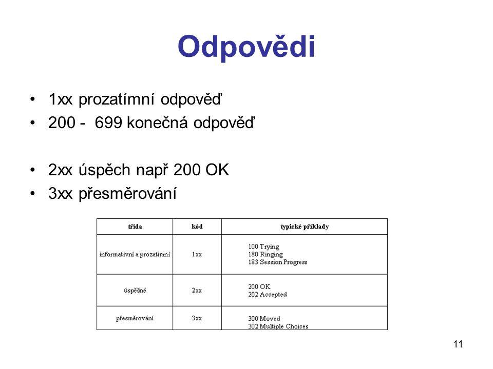 Odpovědi 1xx prozatímní odpověď 200 - 699 konečná odpověď