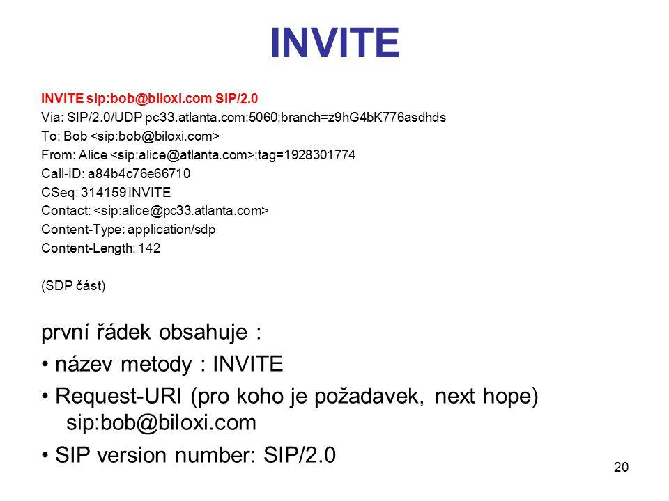 INVITE první řádek obsahuje : • název metody : INVITE