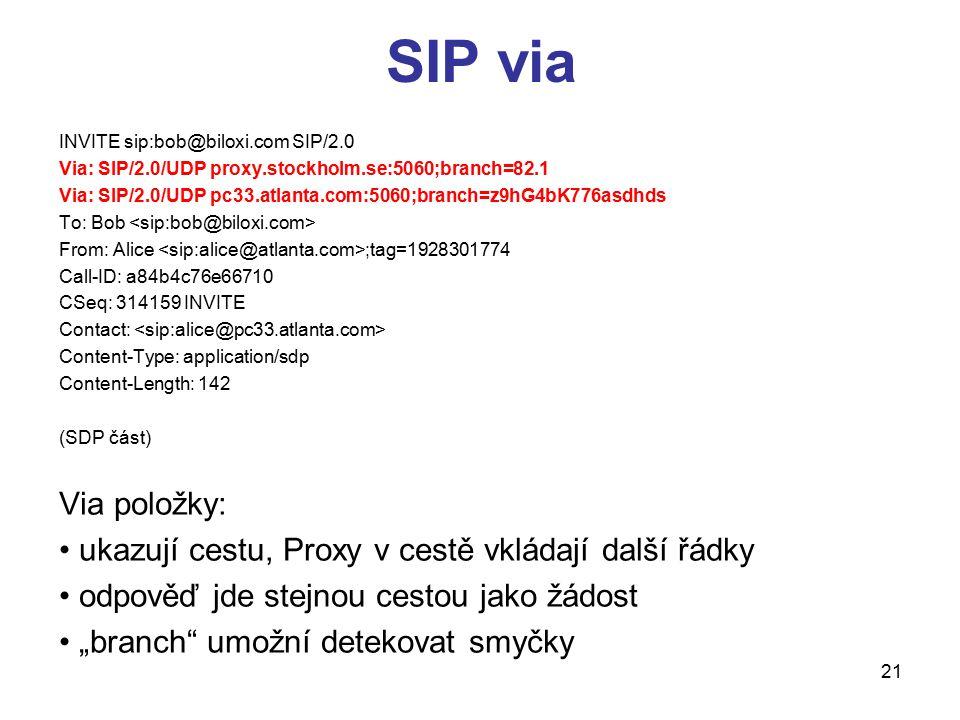 SIP via INVITE sip:bob@biloxi.com SIP/2.0. Via: SIP/2.0/UDP proxy.stockholm.se:5060;branch=82.1.