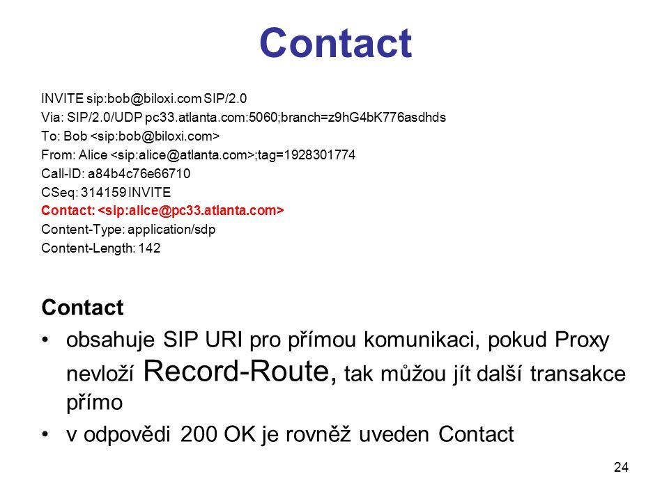 Contact INVITE sip:bob@biloxi.com SIP/2.0. Via: SIP/2.0/UDP pc33.atlanta.com:5060;branch=z9hG4bK776asdhds.