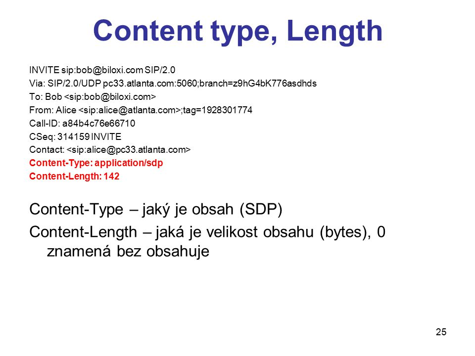 Content type, Length Content-Type – jaký je obsah (SDP)
