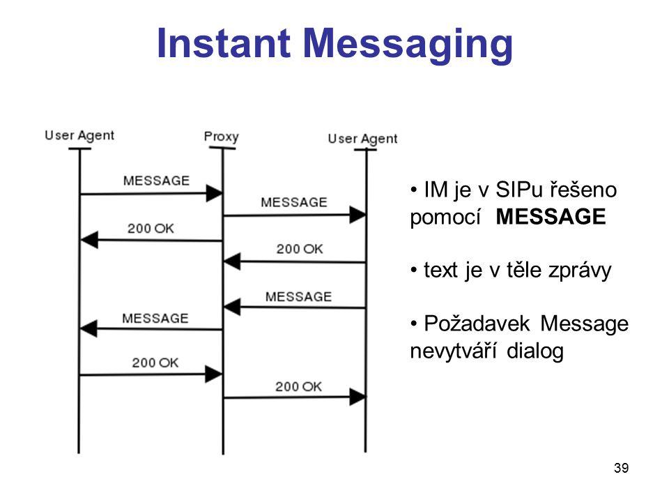 Instant Messaging IM je v SIPu řešeno pomocí MESSAGE