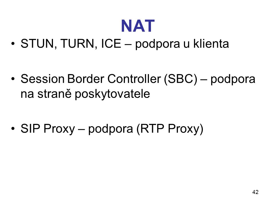 NAT STUN, TURN, ICE – podpora u klienta