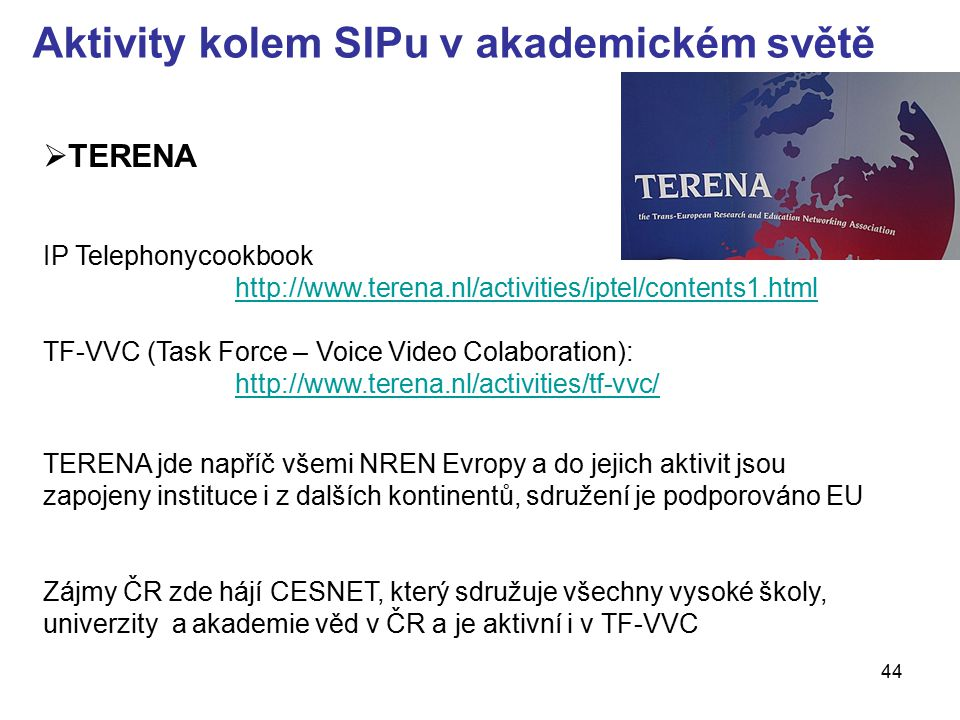 Aktivity kolem SIPu v akademickém světě