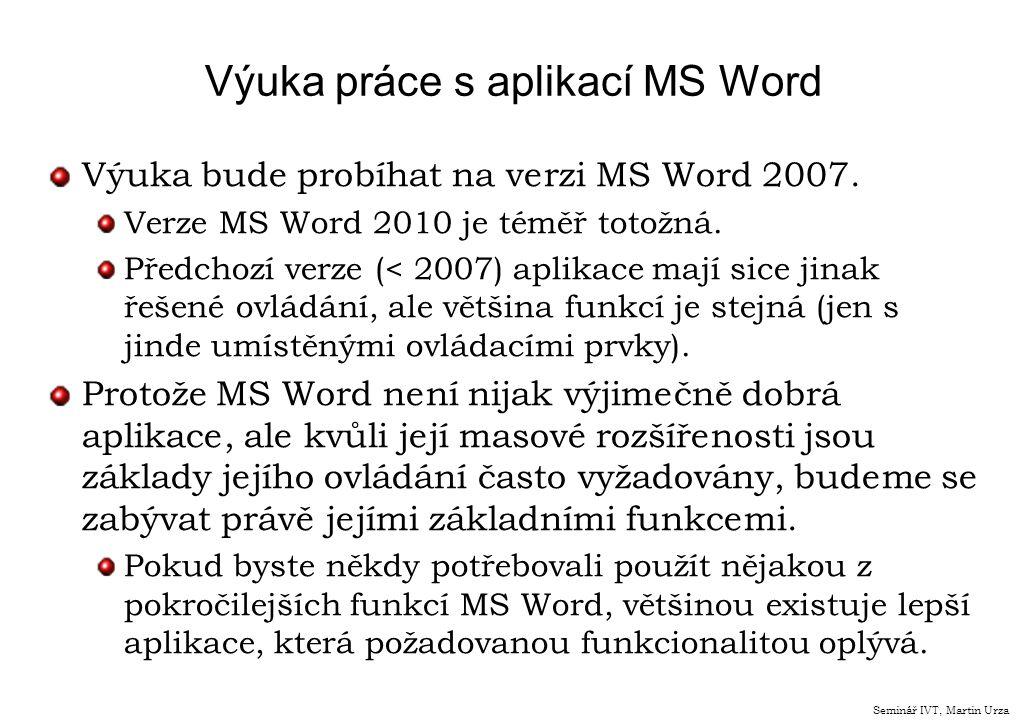 Výuka práce s aplikací MS Word