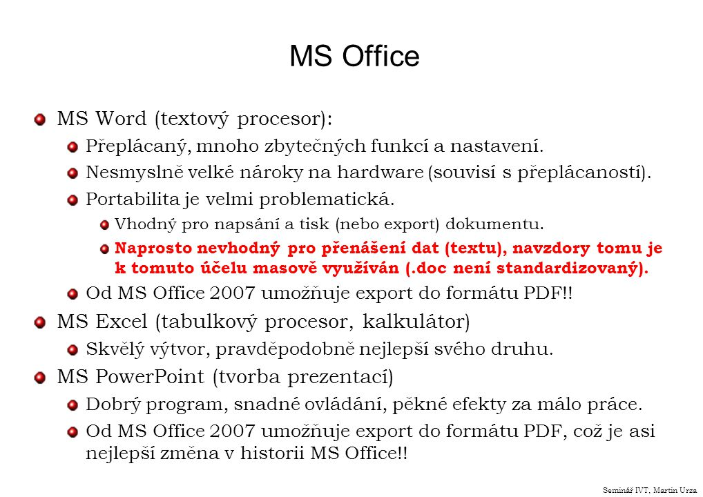 MS Office MS Word (textový procesor):
