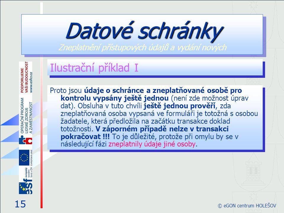 Datové schránky Zneplatnění přístupových údajů a vydání nových