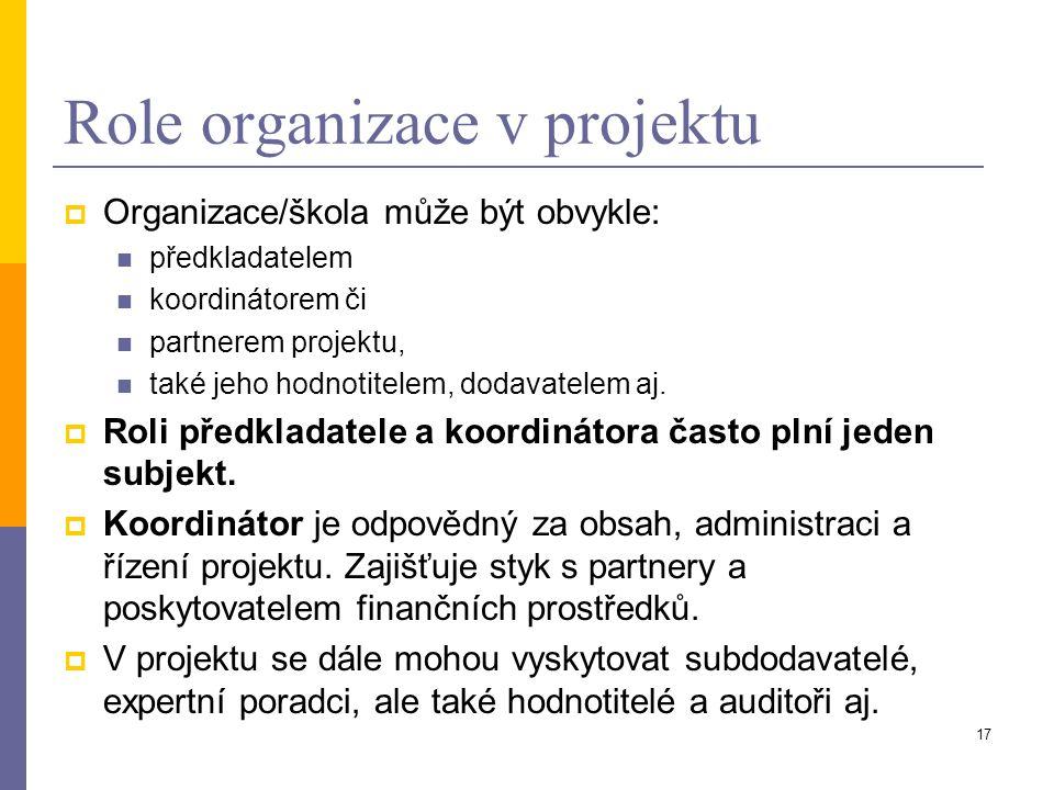Role organizace v projektu