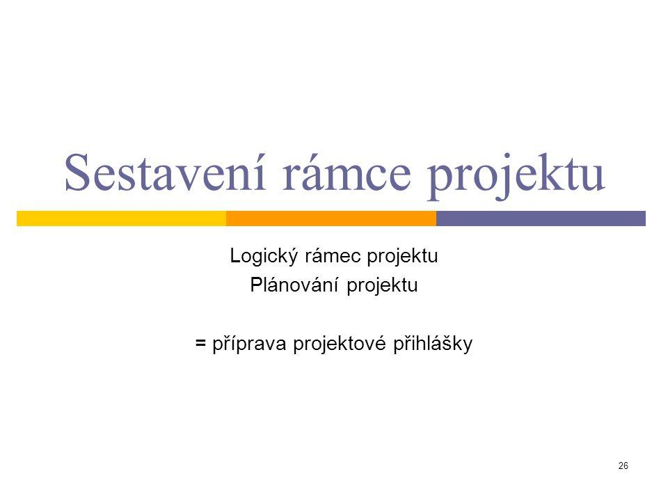 Sestavení rámce projektu