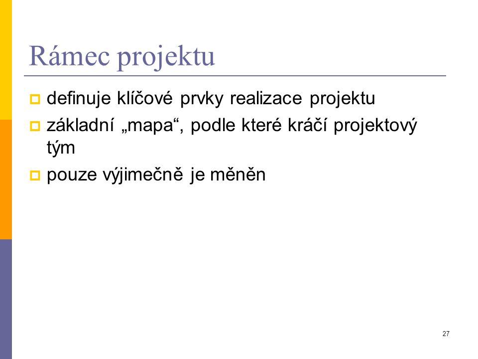 Rámec projektu definuje klíčové prvky realizace projektu