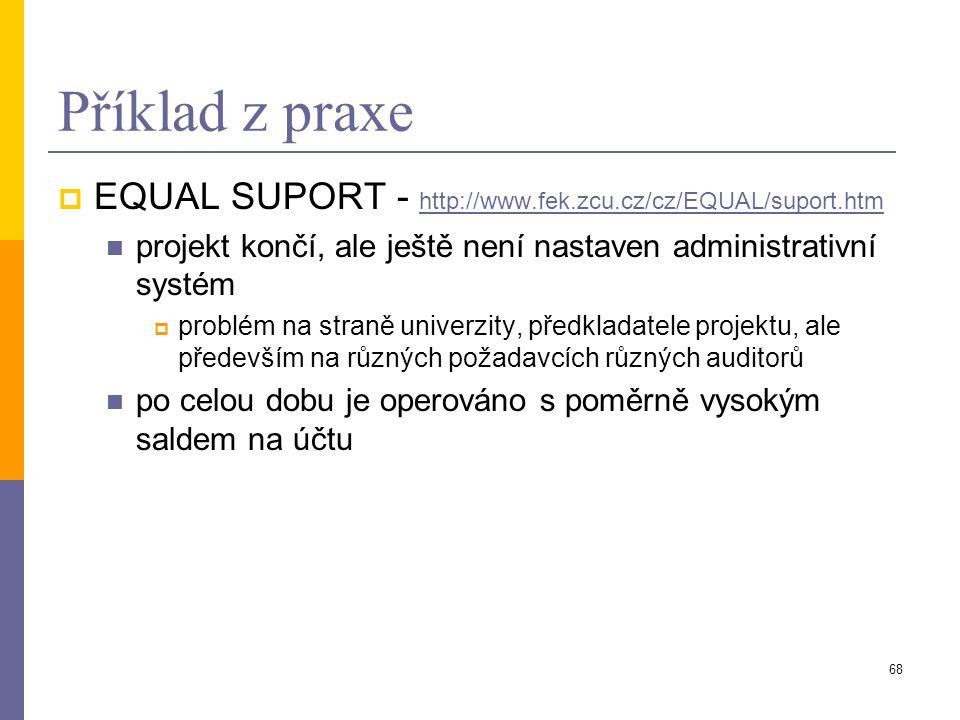 Příklad z praxe EQUAL SUPORT - http://www.fek.zcu.cz/cz/EQUAL/suport.htm. projekt končí, ale ještě není nastaven administrativní systém.