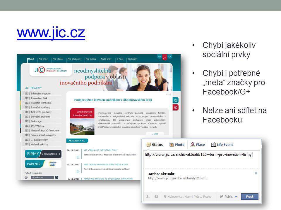 www.jic.cz Chybí jakékoliv sociální prvky