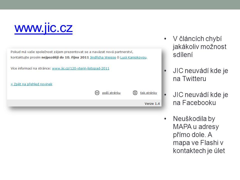 www.jic.cz V článcích chybí jakákoliv možnost sdílení