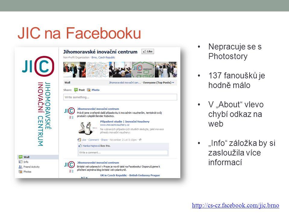 JIC na Facebooku Nepracuje se s Photostory 137 fanoušků je hodně málo