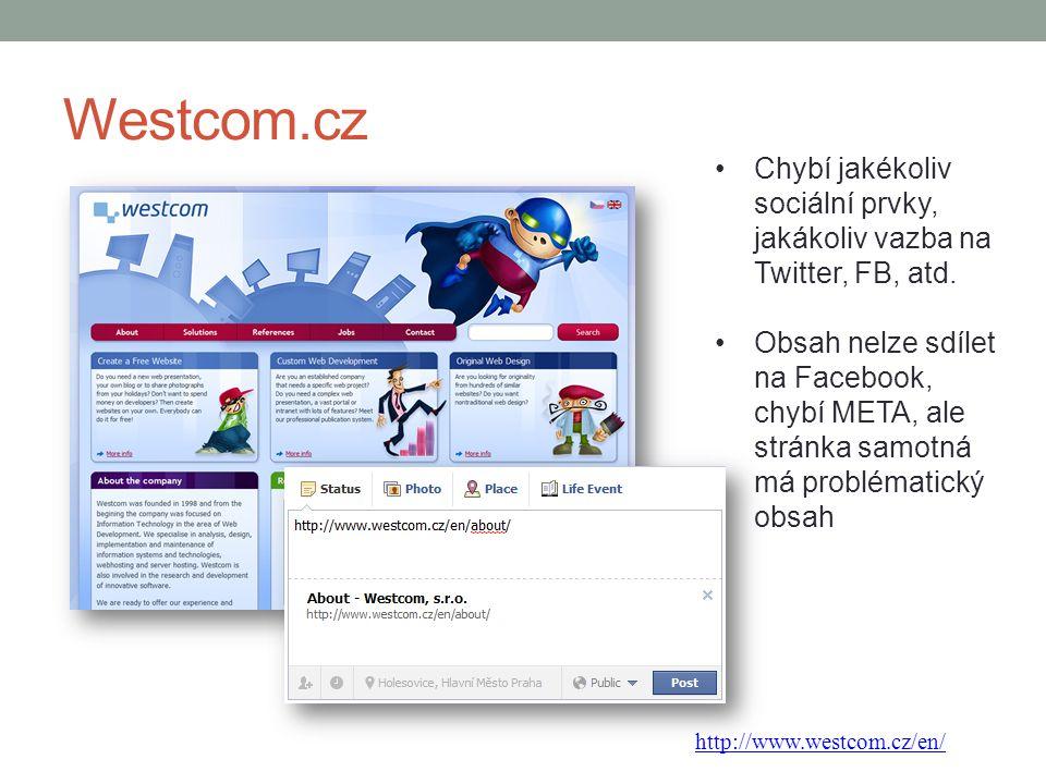 Westcom.cz Chybí jakékoliv sociální prvky, jakákoliv vazba na Twitter, FB, atd.
