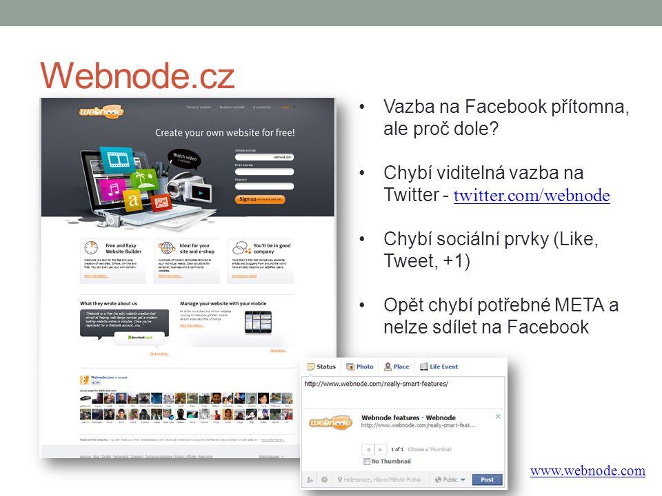 Webnode.cz Vazba na Facebook přítomna, ale proč dole