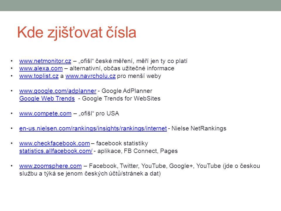 """Kde zjišťovat čísla www.netmonitor.cz – """"ofišl české měření, měří jen ty co platí. www.alexa.com – alternativní, občas užitečné informace."""