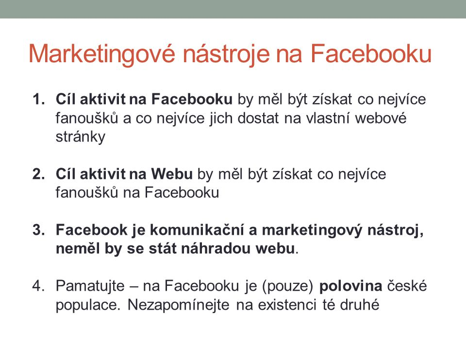 Marketingové nástroje na Facebooku