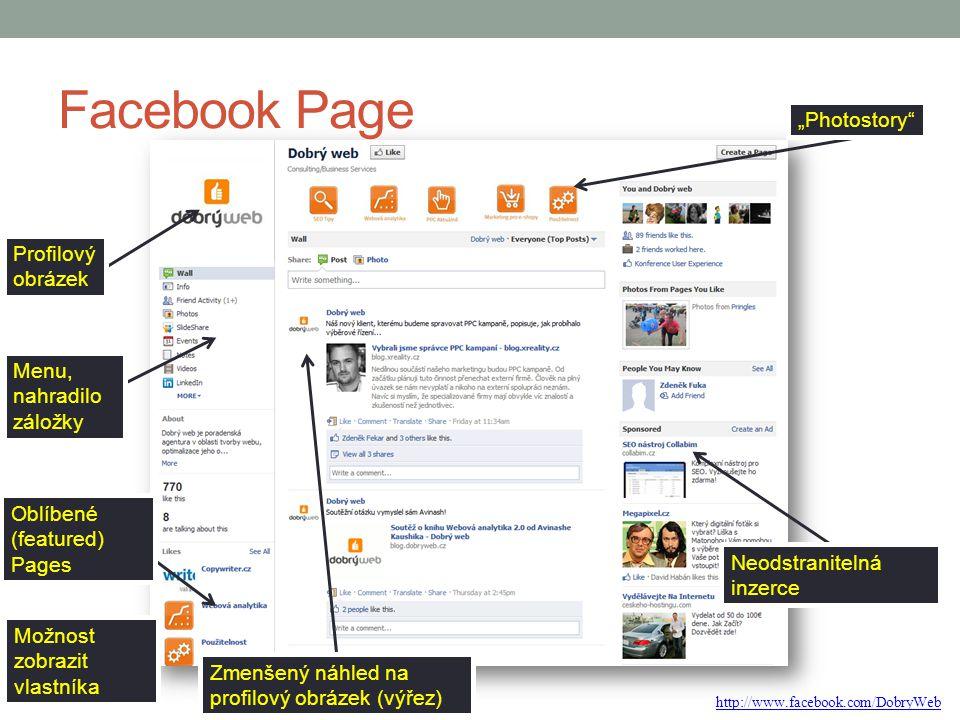 """Facebook Page """"Photostory Profilový obrázek Menu, nahradilo záložky"""
