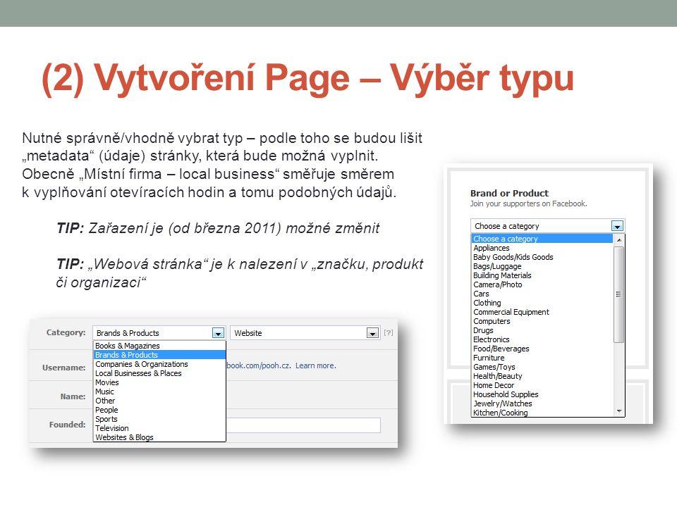 (2) Vytvoření Page – Výběr typu