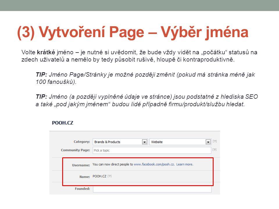 (3) Vytvoření Page – Výběr jména
