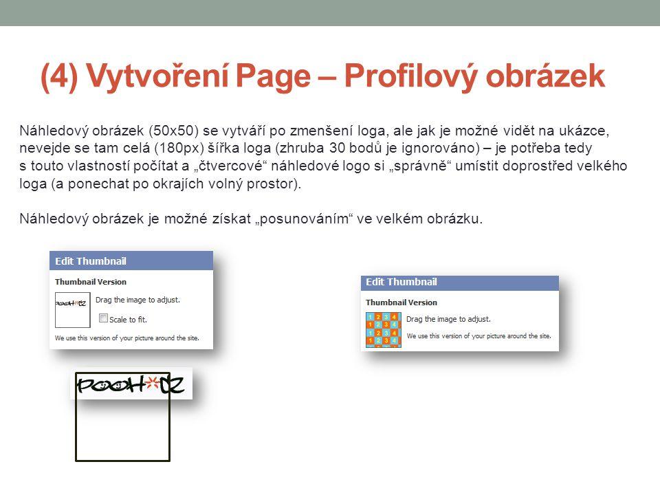 (4) Vytvoření Page – Profilový obrázek