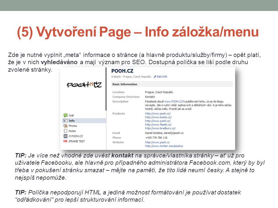 (5) Vytvoření Page – Info záložka/menu