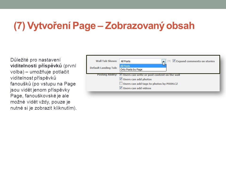 (7) Vytvoření Page – Zobrazovaný obsah