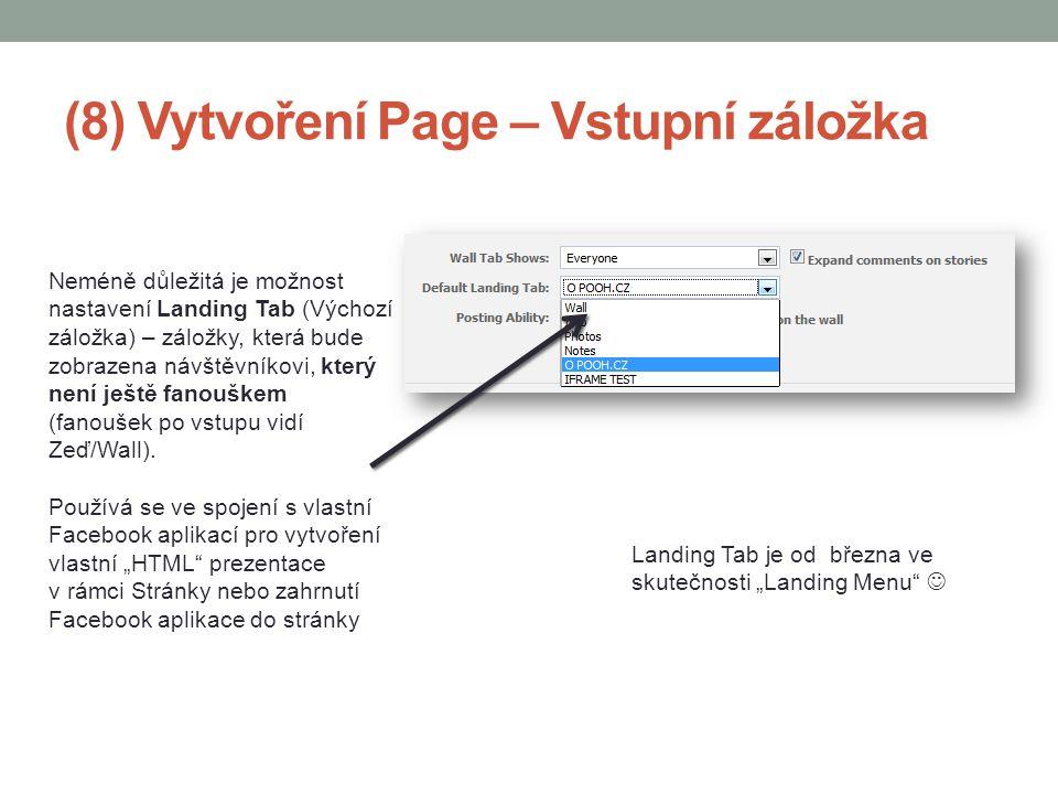 (8) Vytvoření Page – Vstupní záložka