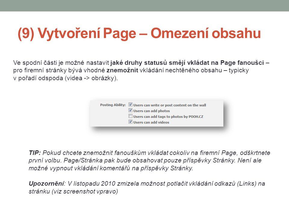 (9) Vytvoření Page – Omezení obsahu