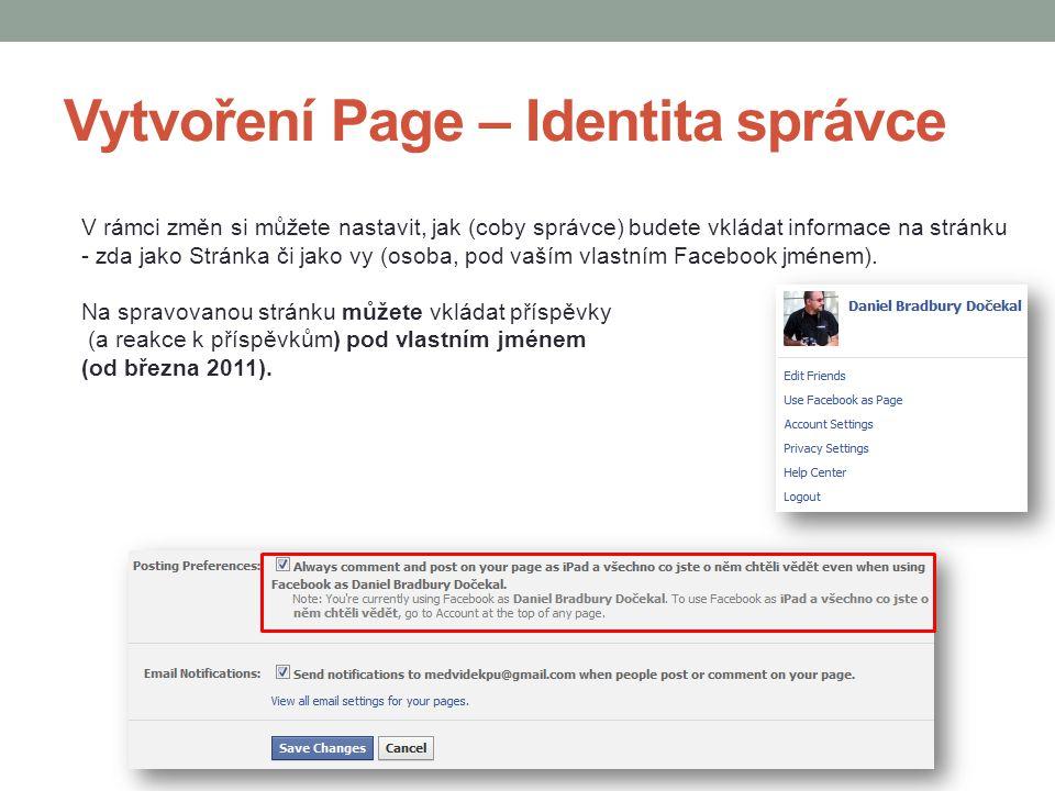 Vytvoření Page – Identita správce
