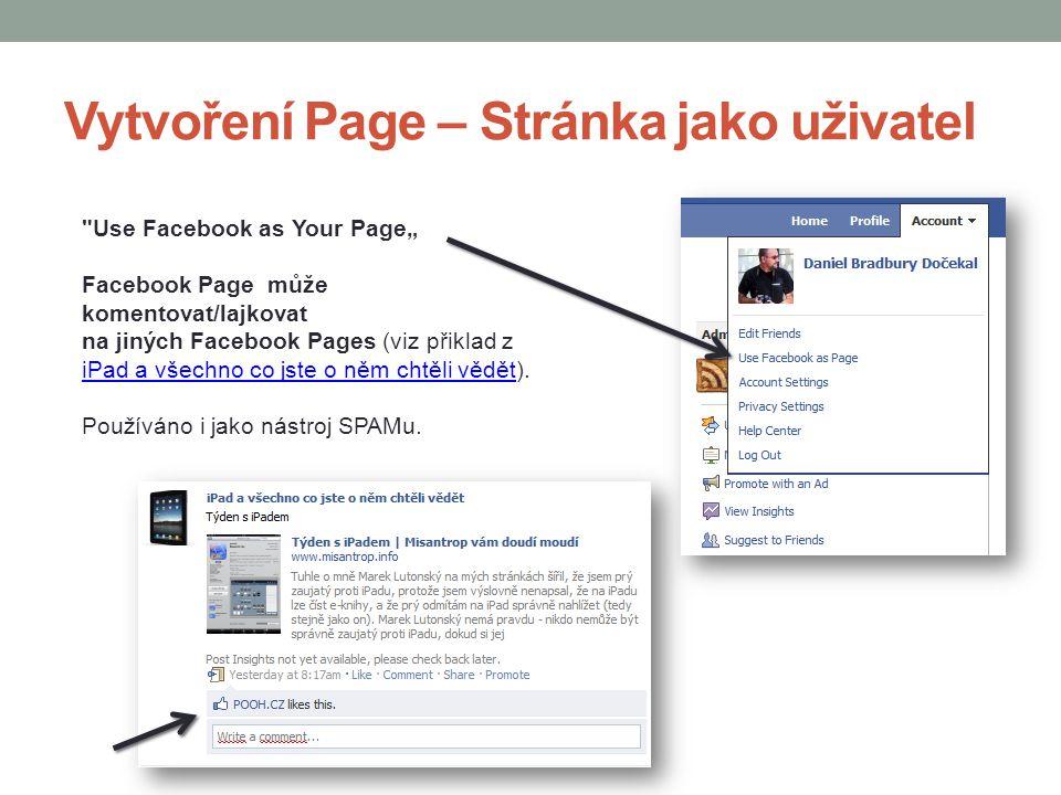 Vytvoření Page – Stránka jako uživatel