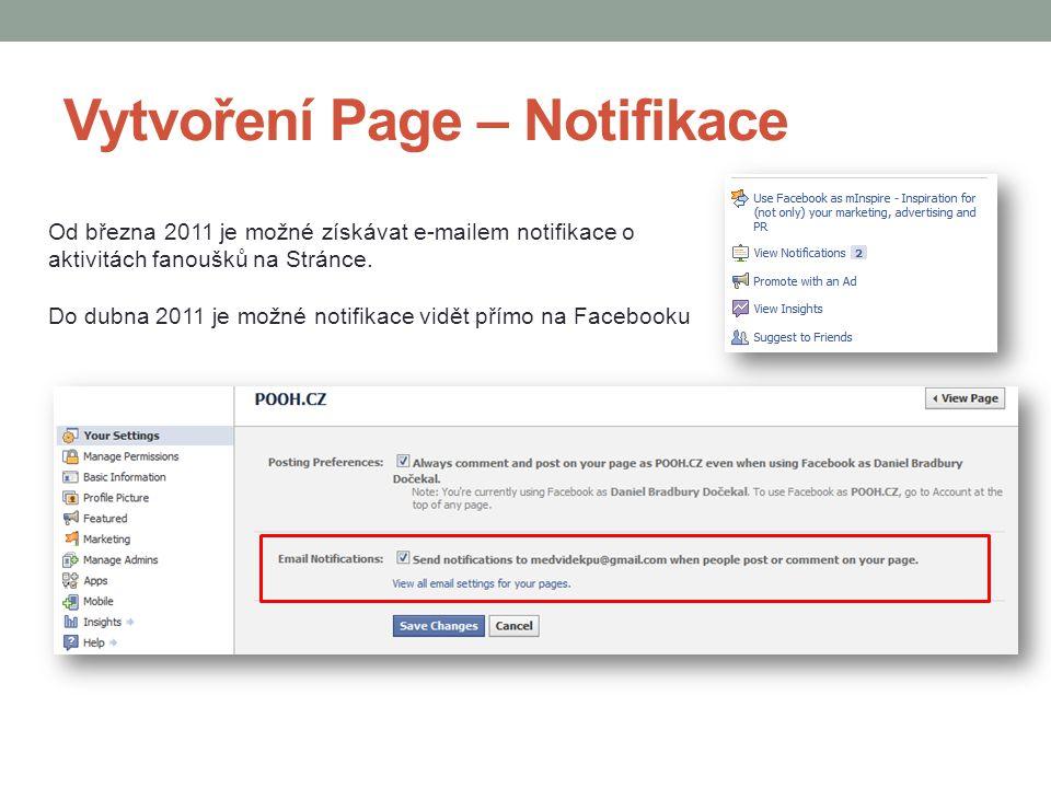 Vytvoření Page – Notifikace