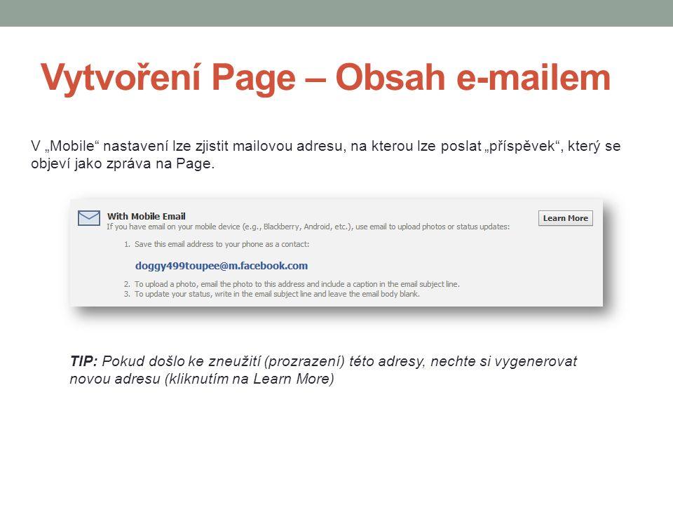 Vytvoření Page – Obsah e-mailem