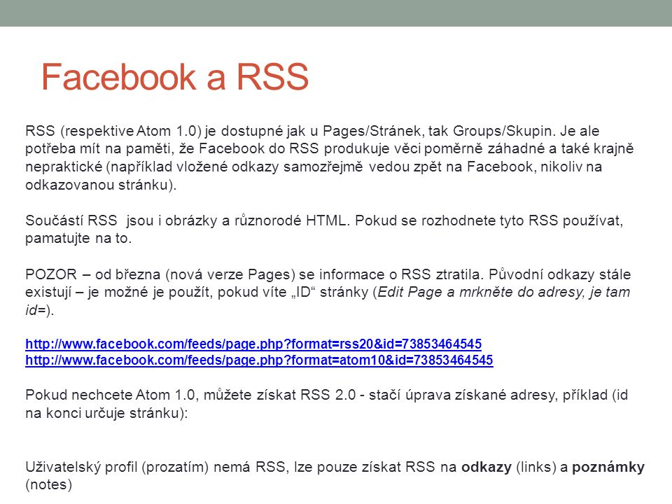 Facebook a RSS