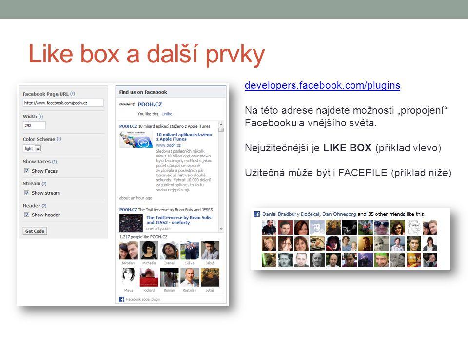 Like box a další prvky developers.facebook.com/plugins