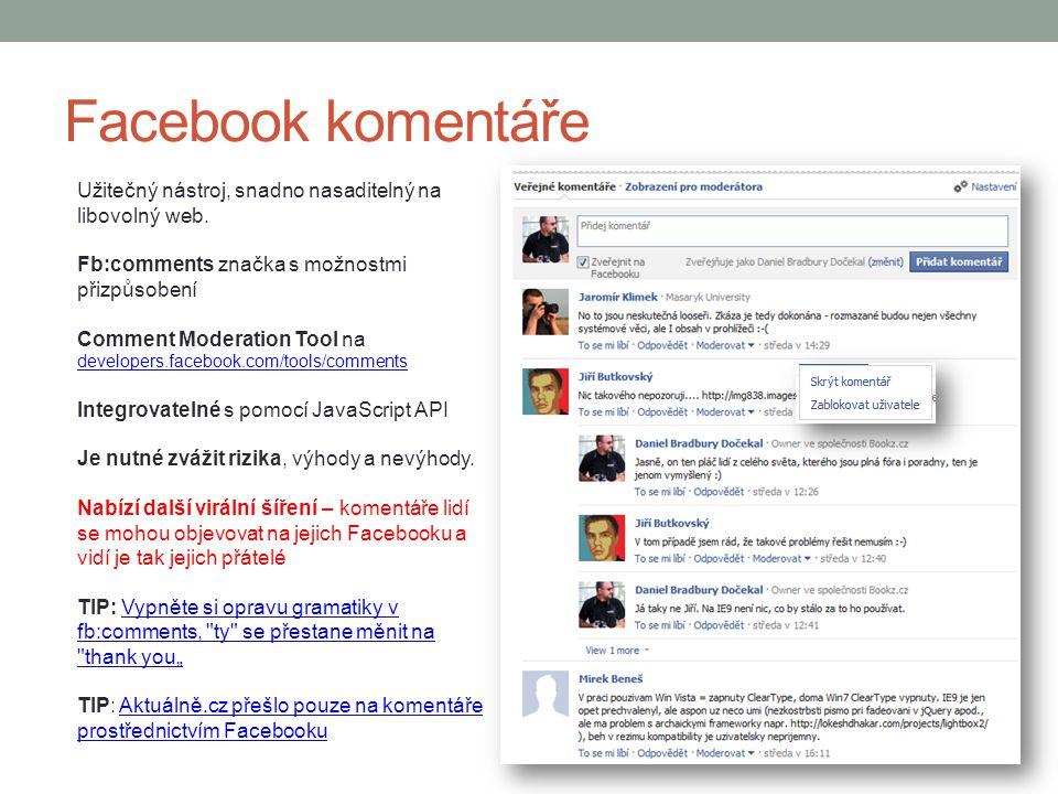 Facebook komentáře Užitečný nástroj, snadno nasaditelný na libovolný web. Fb:comments značka s možnostmi přizpůsobení.